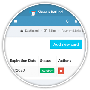 payment method list view actions