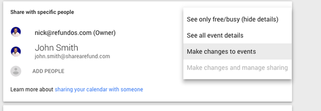 make changes to events in Google calendar with external parties